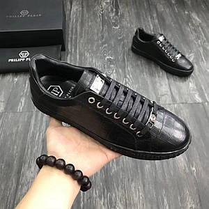 Мужские кроссовки PHILIPP PLEIN,черны кожаные