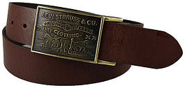 Ремни мужские Levis Large Buckle leather belt BROWN
