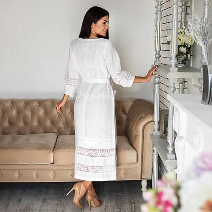 Женское белое льняное платье с кружевом, фото 2