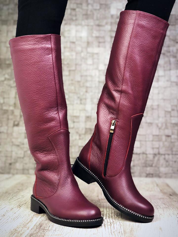 Шикарные кожаные сапоги 38 р  марсала