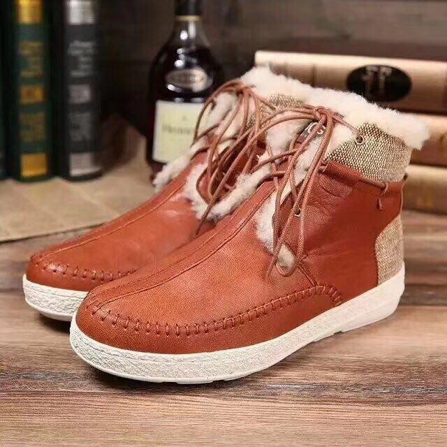 Мужские зимние ботинки UGG  на шнурках рыжие