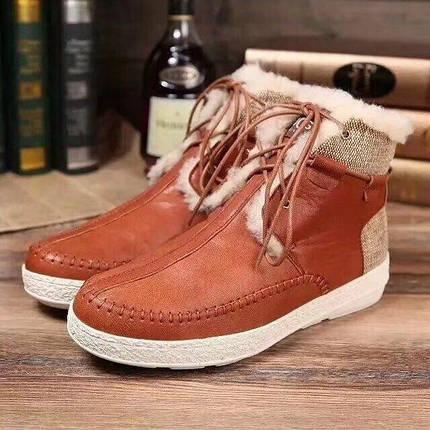Мужские зимние ботинки UGG  на шнурках рыжие, фото 2