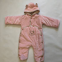 Теплый комбинезон велюровый розовый  Ня-ня 68
