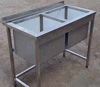 Мойка 2-секционная из нержавейки 1400х600х850 (гл.300мм), фото 1