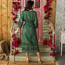 Женское льняное платье с кружевом изумруд, фото 2
