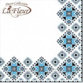 """Столовые салфетки ТМ """"La Fleur""""  Вышивка голубая"""