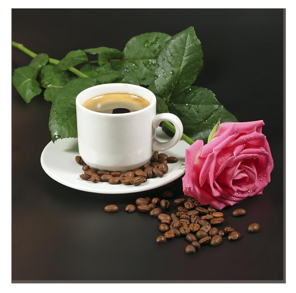 "Картина на стекле ""Чашечка кофе и роза"""