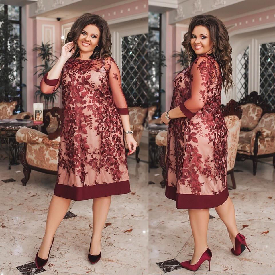 03dd5a1c4a6 Женское платье свободного кроя с французской вышивкой на сетке 48-50 ...