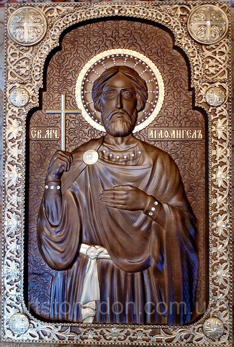 Икона резная храмовая Святой мученик Агафангел