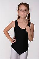 Детский черный купальник майка для гимнастики и танцев бифлекс