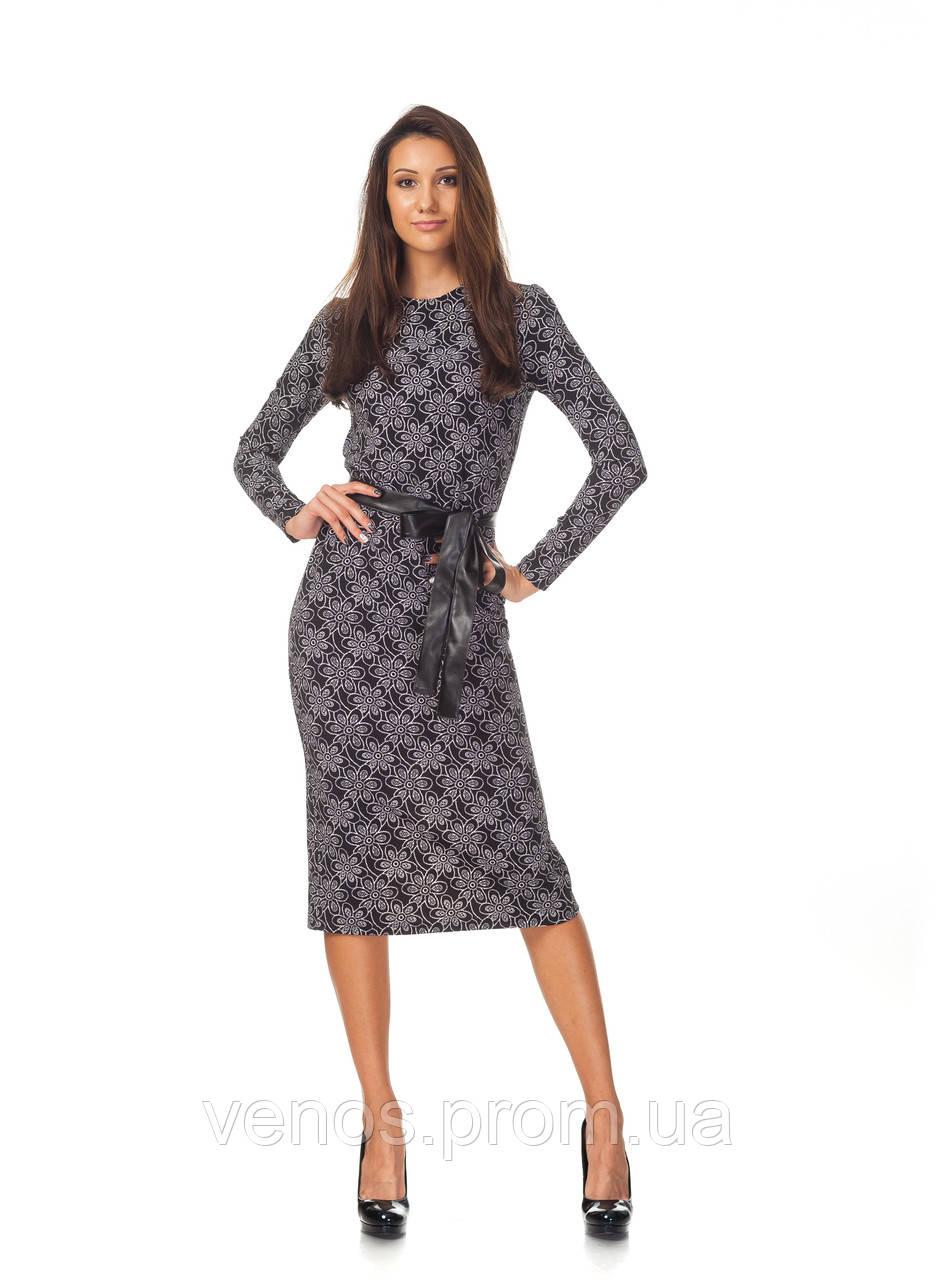 Женское платье миди с поясом. П127