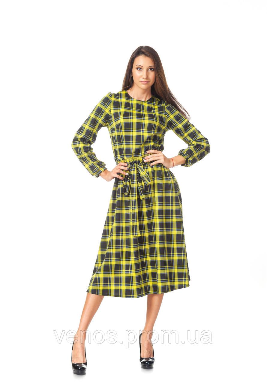 Женственное платье с поясом. П128