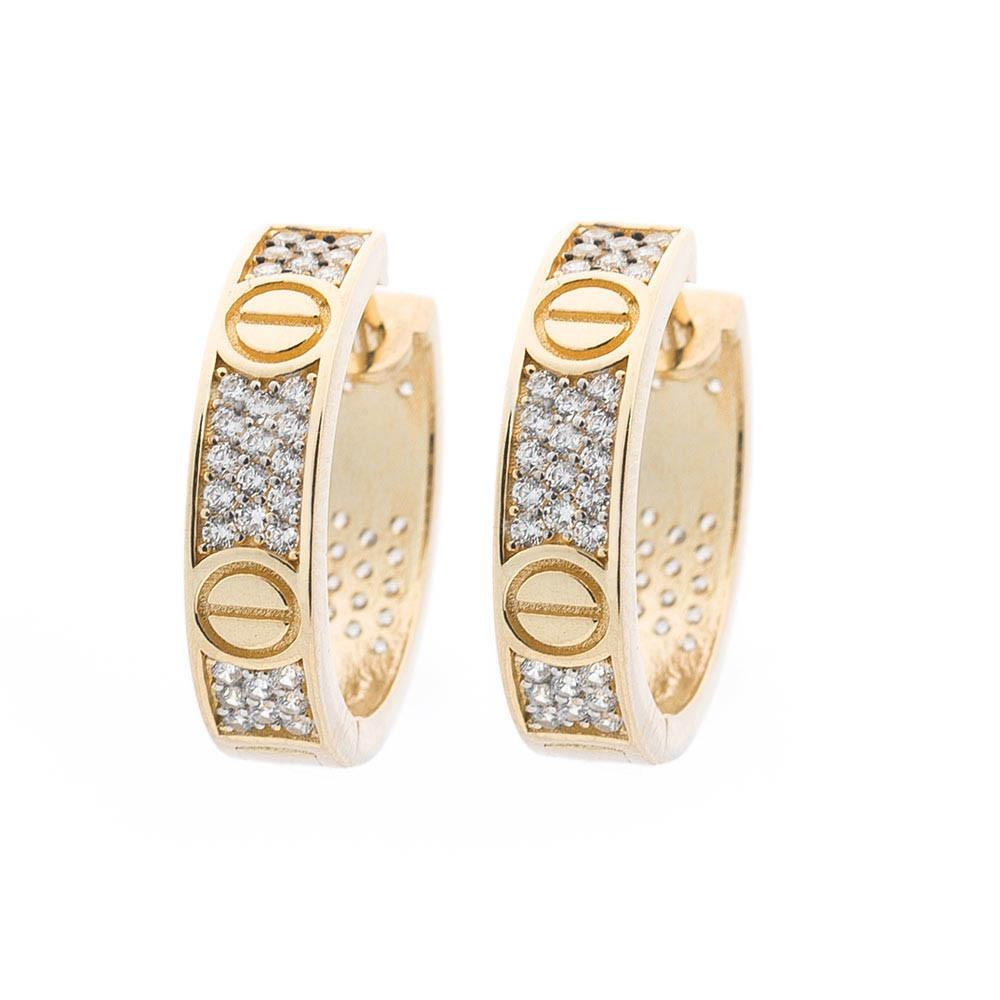 Золотые серьги-кольца (фианит) гс05393