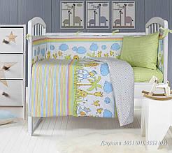 Комплект постельного белья  детский ДЖУНГЛИ ( навол. 40*60;прост. на резинке)