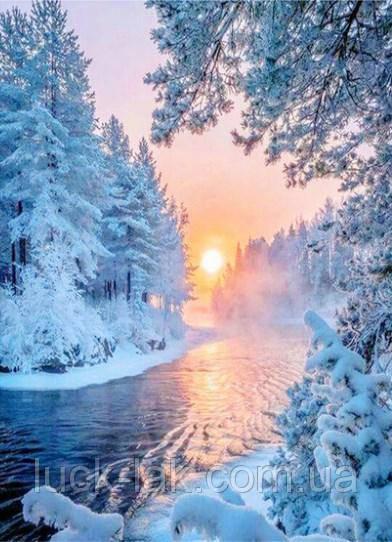 Алмазная вышивка зимний пейзаж 20х30 см, полная выкладка, квадратные стразы