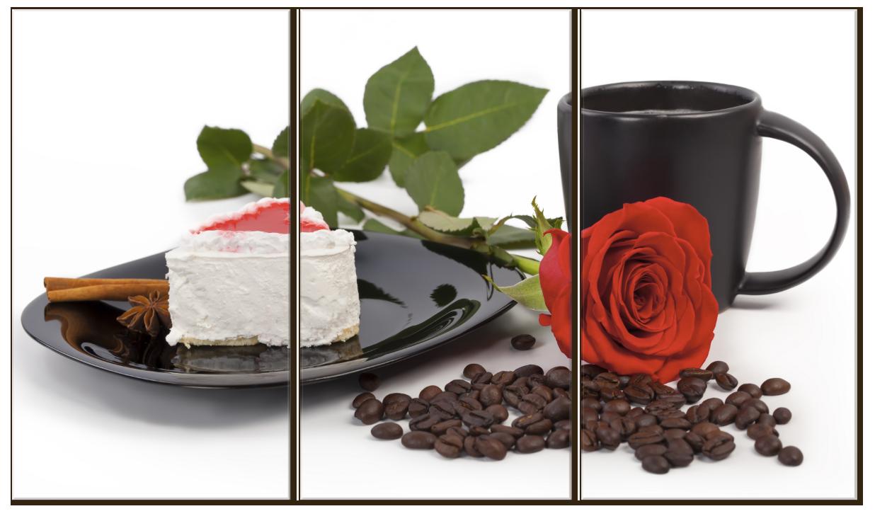 """Картина на стекле """"Роза и романтический завтрак"""""""