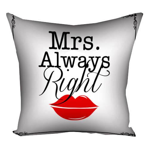 Подушка з принтом Mrs. Always Right (3P_LP362)