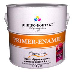 Емаль по металу і іржі «ГРУНТ-ЕМАЛЬ 3в1» ДНІПРО-КОНТАКТ 2,8 кг