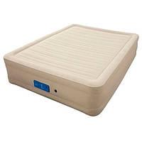 Двухспальная надувная флокированная кровать Bestway 69032, бежевая, со встроенным насосом 220V, 203 х 152 х 43