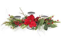 Новогодний подсвечник на три свечи с декором из хвои, цветов и красных ягод 71см (758-344)