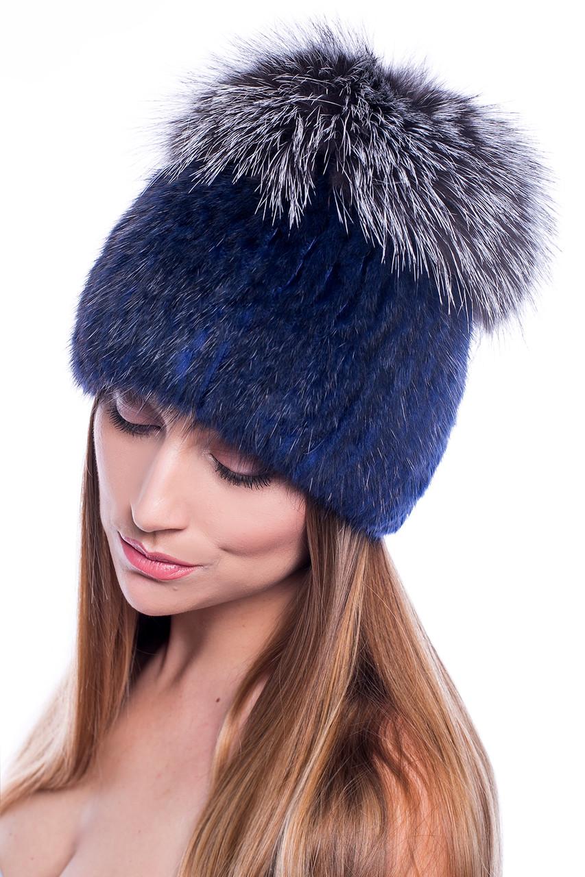 Женская зимняя шапка с бубоном  из меха Ондатры и Чернобурки  28w   Синий - Серый