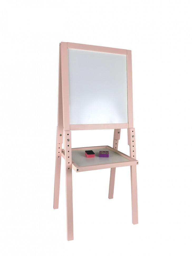 Мольберт двухсторонний магнитный на 4-х ножках 11223 Розовый с полочкой, мелки, губка