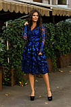 Нарядное женское стильное платье с V-образным вырезом ажурное кружево расшитое пайеткой размер 42,44,46, фото 5