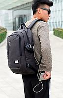Рюкзак мужской и женский Dxyizu с выходом для подключения гаджетов черный, фото 1