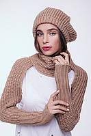 Женский вязаный шарф - митенки