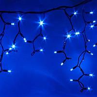 """Уличная светодиодная гирлянда """"Бахрома"""" 3x0.7 м, цвет: синий с мерцанием, черный провод 100LEDIP 44"""