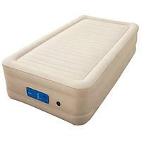 Односпальная надувная флокированная кровать Bestway 69030, бежевая, со встроенным насосом 220V, 191 х 97 х 43