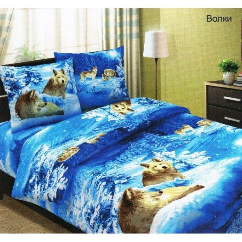 Комплект постельного белья Царский Дом ВОЛКИ 3D (Бязь, хлопок) Семейный