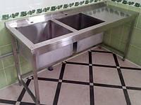 Мойка 1400х600х850 (500х450х300) с рабочей поверхностью из нержавеющей стали, фото 1
