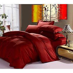 Комплект постельного белья Царский Дом из сатина КРАСНОЕ ВИНО / WINE RED Евро