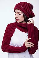 Женский вязаный шарф - митенки бордо