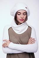 Женский вязаный шарф - митенки белый