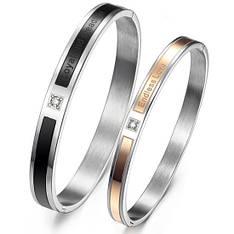 Парні браслети для двох закоханих медична сталь камені цирконій гравірування