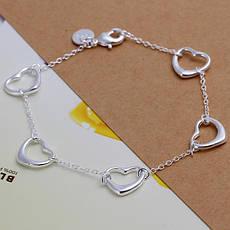 """Жіночий браслет, ланцюжок на руку з сердечками покриття срібло 925 """"Відкриті серця"""", фото 2"""