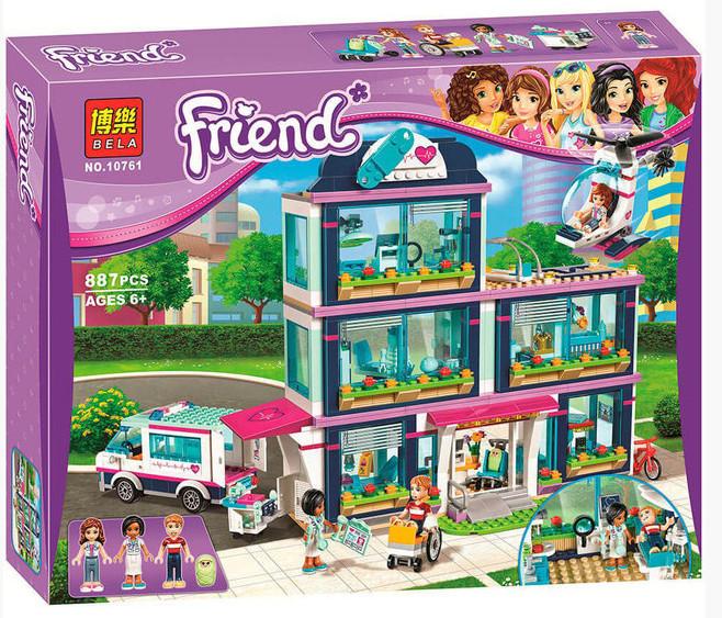 "Конструктор Bela 10761 ""Клиника Хартлейк-Сити"" (аналог LEGO 41318 Friends ), 887 дет."