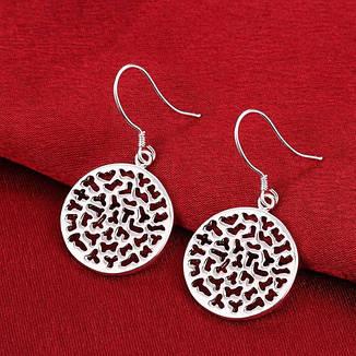 """Висячі жіночі круглі сережки """"Midnight Sparkle"""" покриття срібло, фото 2"""