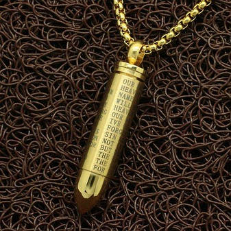 Кулон з медичної сталі Відкривається патрон з молитвою позолота 18К, фото 2