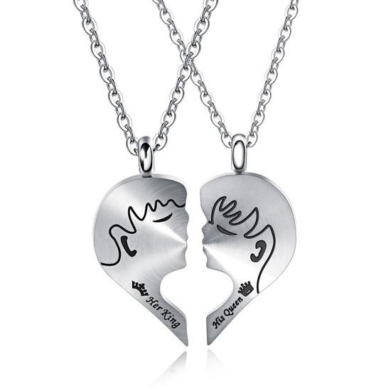 Парные кулоны для двоих влюбленных Первый поцелуй медицинская сталь