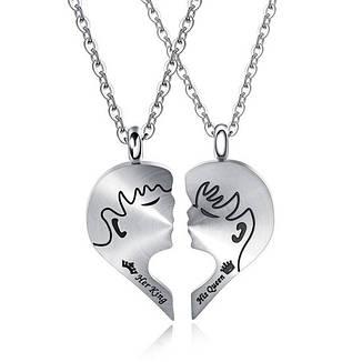 Парные кулоны для двоих влюбленных Первый поцелуй медицинская сталь, фото 2