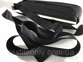 Трикотажна бейка стрейч матовий колір чорний 20 мм