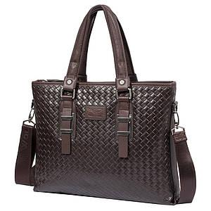 Мужская кожаная сумка плетеная Wolf Family 77014-2 коричневая (34х26,5х5,5 см)