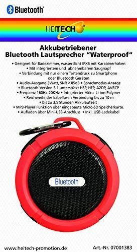 Портативный динамик Heitech 07001383 Bluetooth IPX6 3Вт красный
