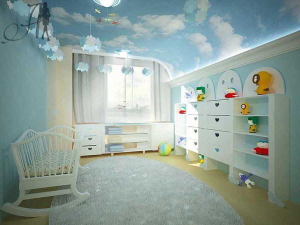 Фотопечать на натяжных потолках в детской