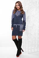 Вязанное платье мини по фигуре с поясом длинные рукава светлый джинс