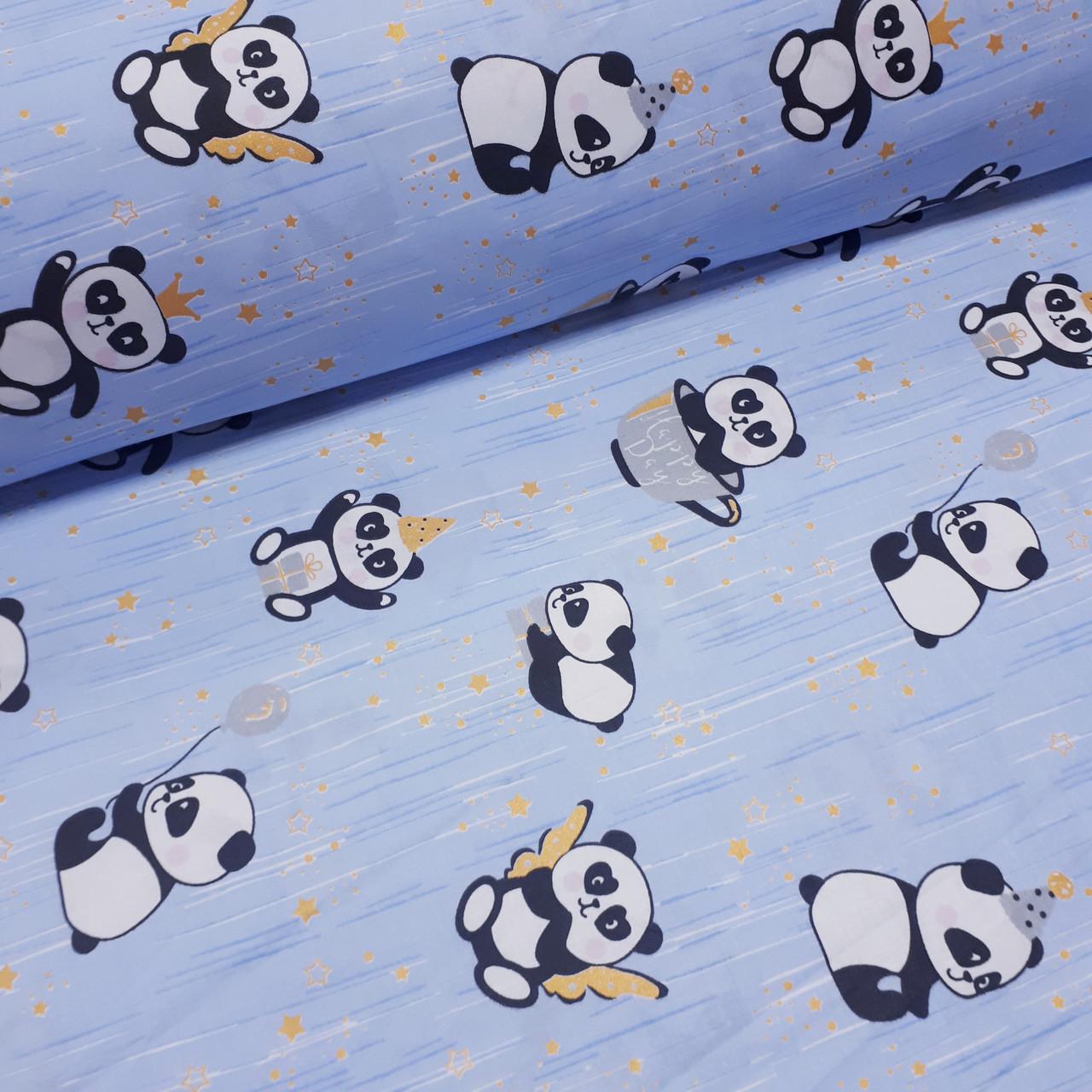 Ткань польская хлопковая, панды с золотом (глиттером) на голубом