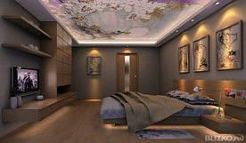 Фотопечать на натяжных потолках в спальне
